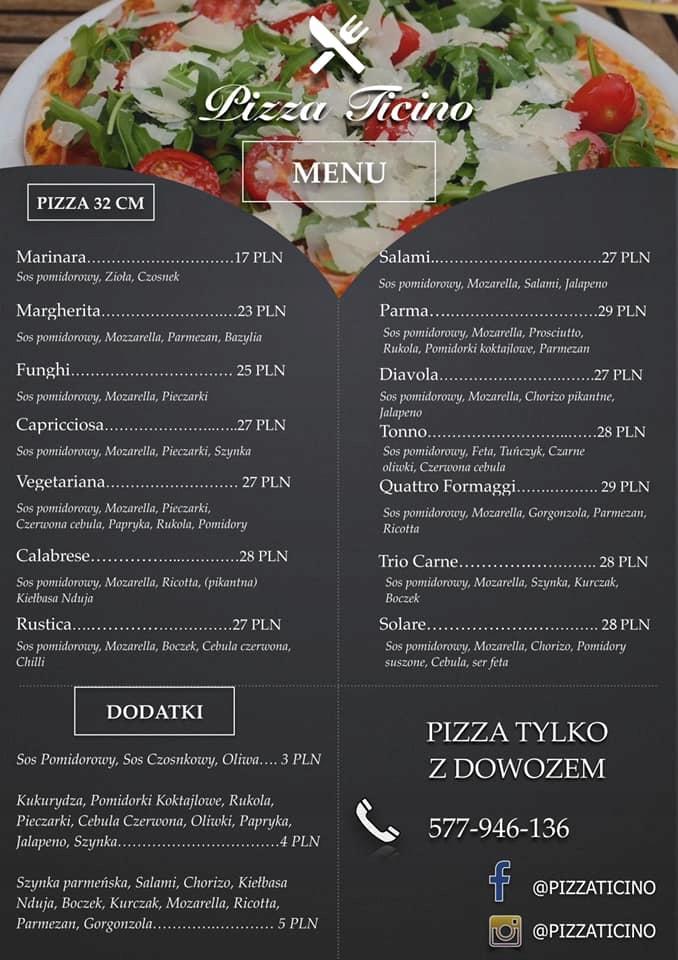 Dwie dowolne PIZZE z Menu Pizzy Ticino!