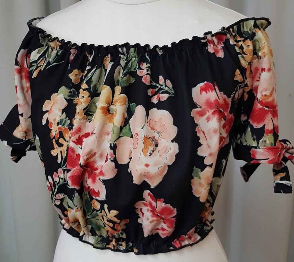 Bluzka top New look 36 S NOWA kwiaty marszczenia