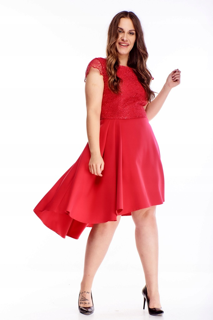 Sukienka z rozkloszowanym dołem - Czerwony 48