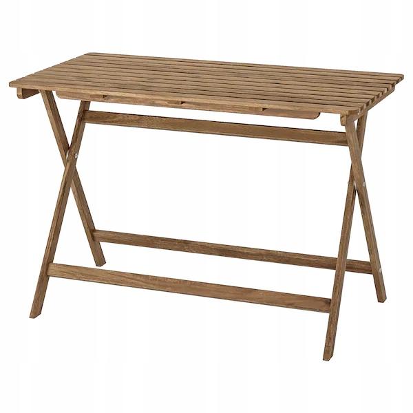 IKEA ASKHOLMEN Stół ogrodowy składany brąz 112x62