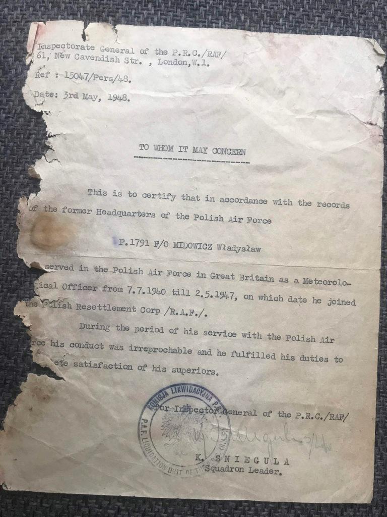 kap. Midowicz RAF 1948, Polskie Sily Zbrojne, PTT