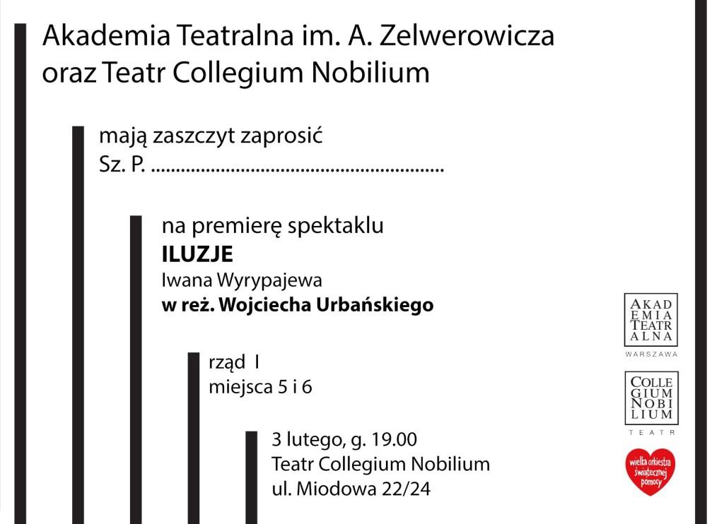 Iluzje - podwójne zaproszenie na PREMIERĘ, 3.02.18