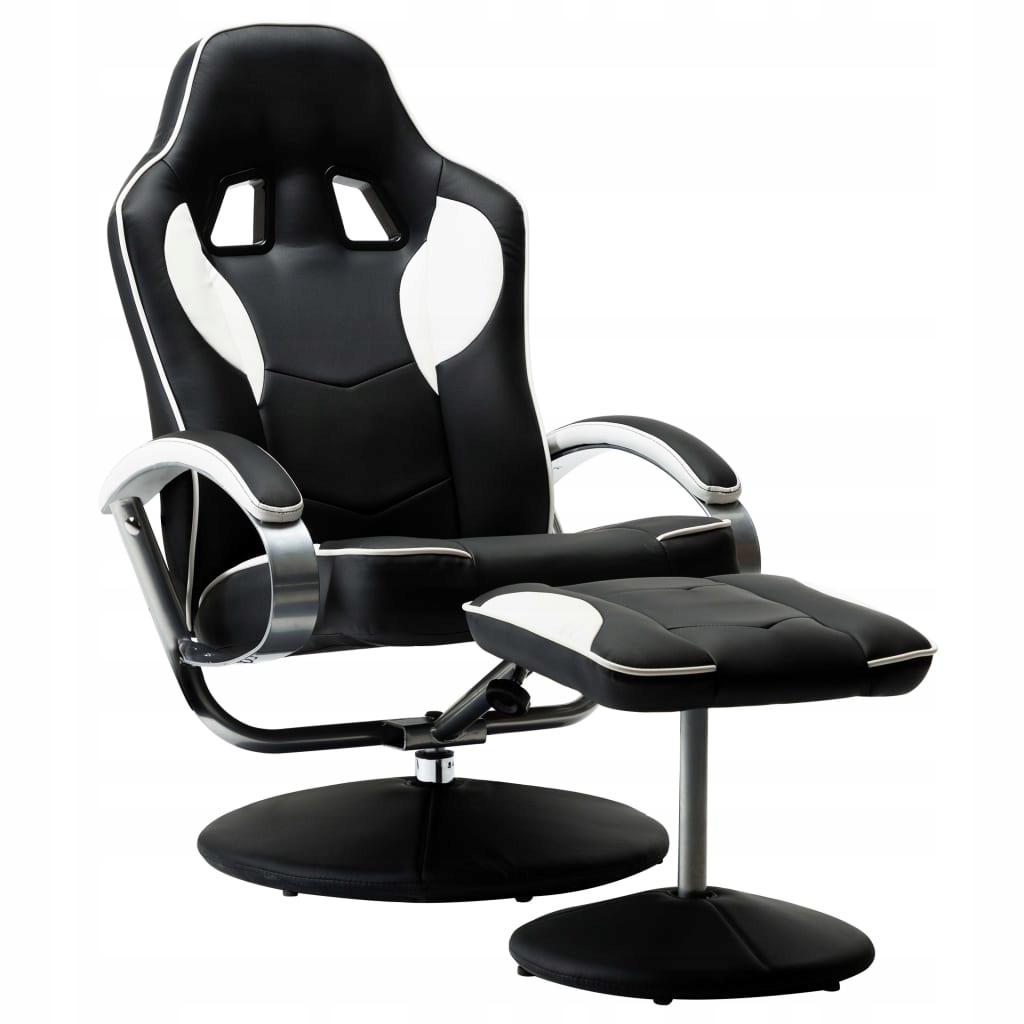 Rozkładany fotel dla gracza z podnóżkiem, biały, e