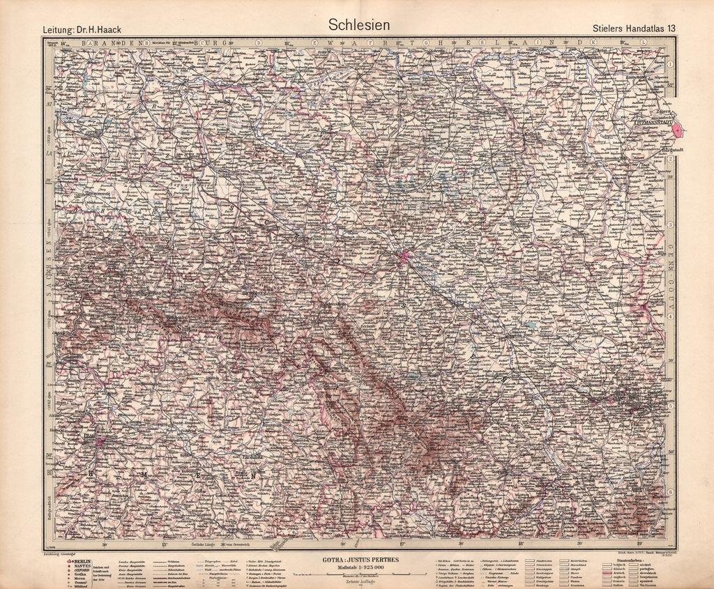 ŚLĄSK WOJENNA EFEKTOWNA MAPA 1942 r. ORYGINAŁ