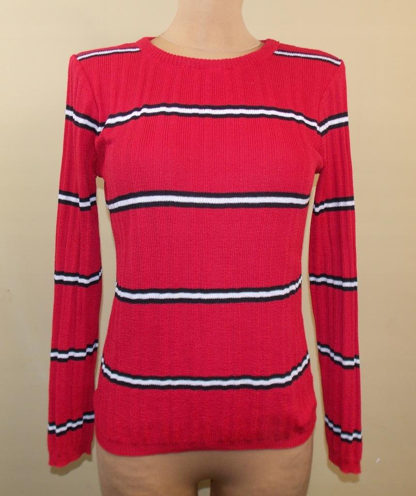 sweter ATMOSPHERE czerwony paseczki klasyczny 40