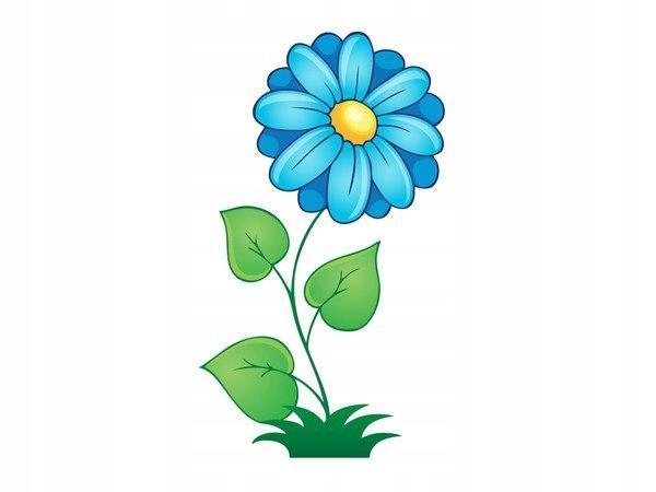 40x40cm Duży niebieski kwiat obraz ozdoba ścian po