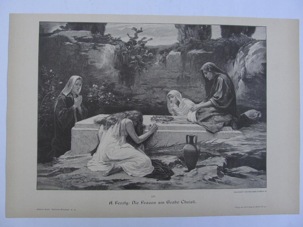 BIBLIA GRÓB CHRYSTUSA KOBIETY drzeworyt 1891 r.