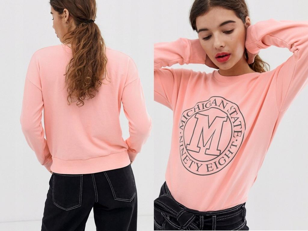 New Look - Jasnoróżowa Bluza z Nadrukiem XL/42
