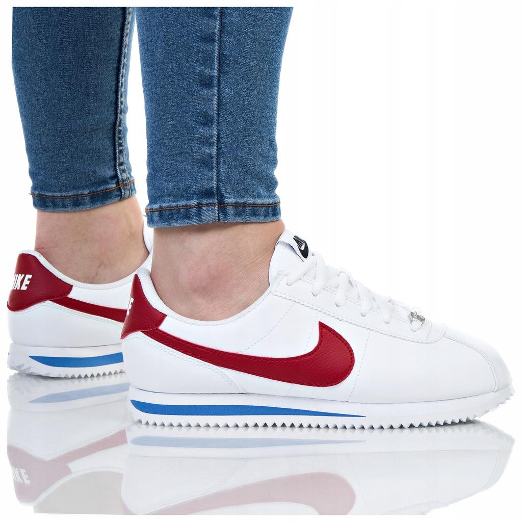buty nike cortez basic gs 904764-103 białe