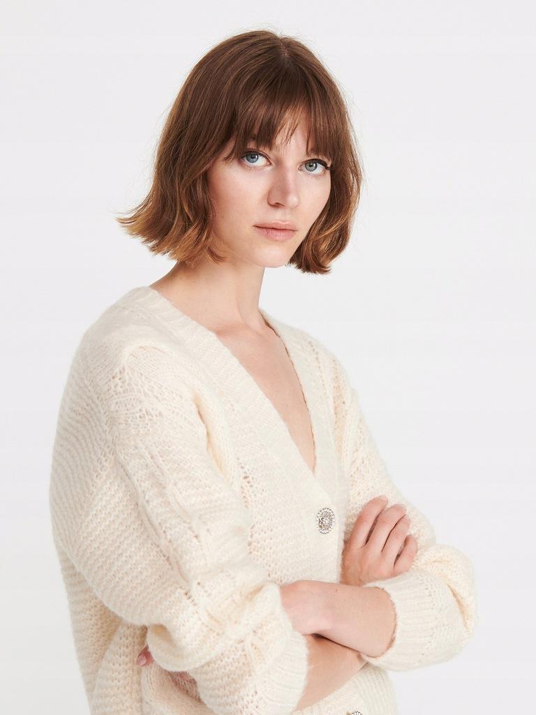 Reserved sweter zara kardigan biały ecru guziki M