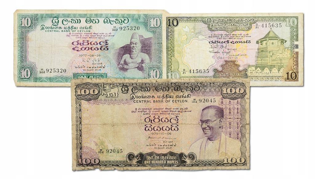1.di.Ceylon, Zest.Banknotów szt.3, St.3,4+