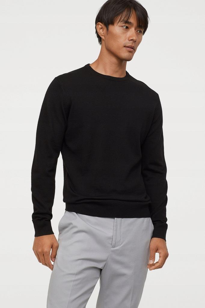 sweter H&M PREMIUM / czarny / wełna merynos