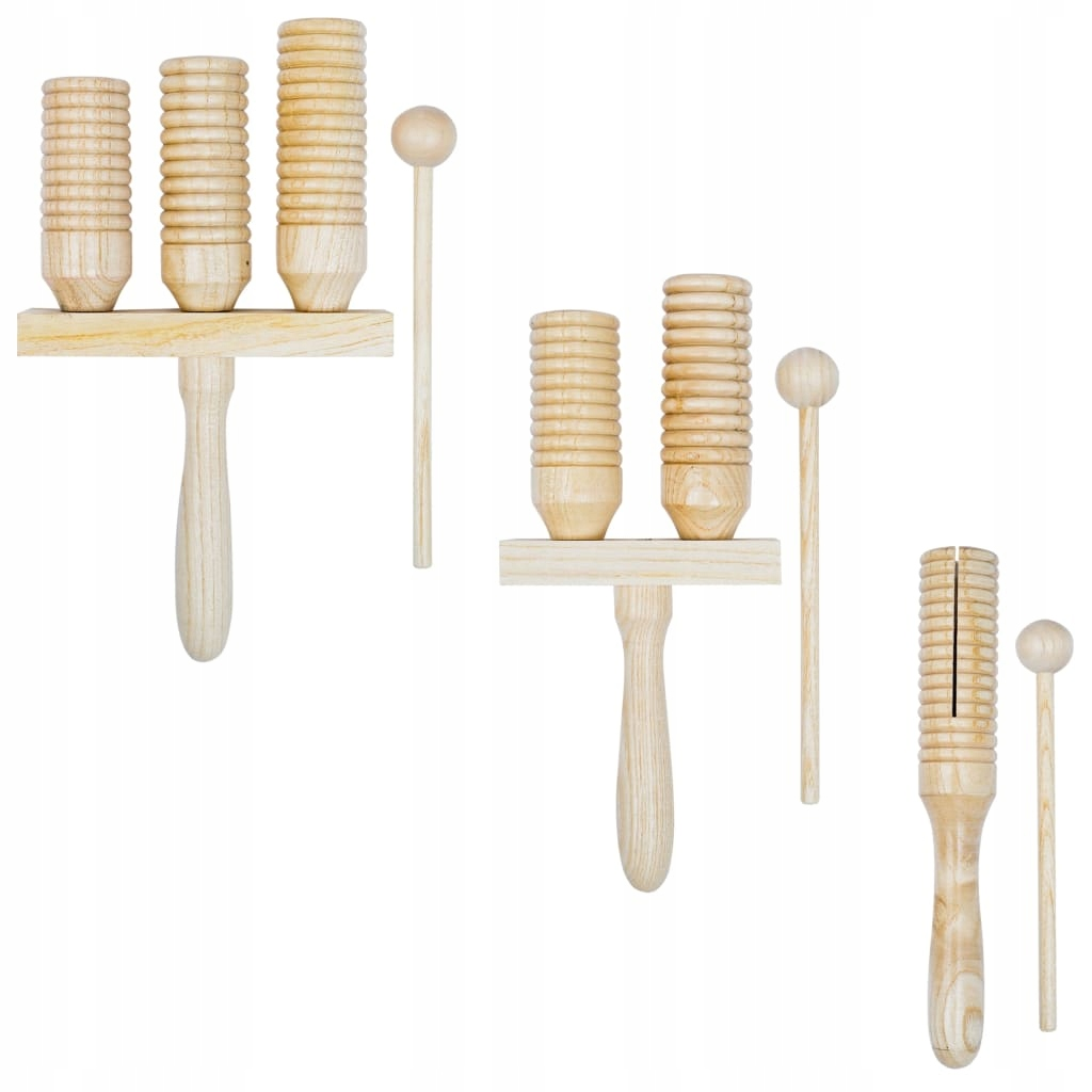 Zestaw drewnianych dzwonków agogo, 3 szt.