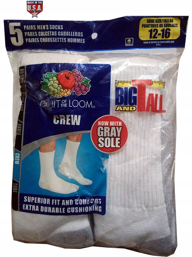 FRUIT OF THE LOOM Crew Socks z USA 5-Pack 45-48