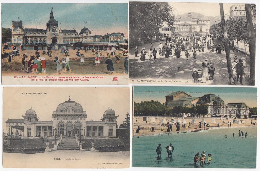 Stare pocztówki FRANCJA KASYNO (4 szt.) 4C08