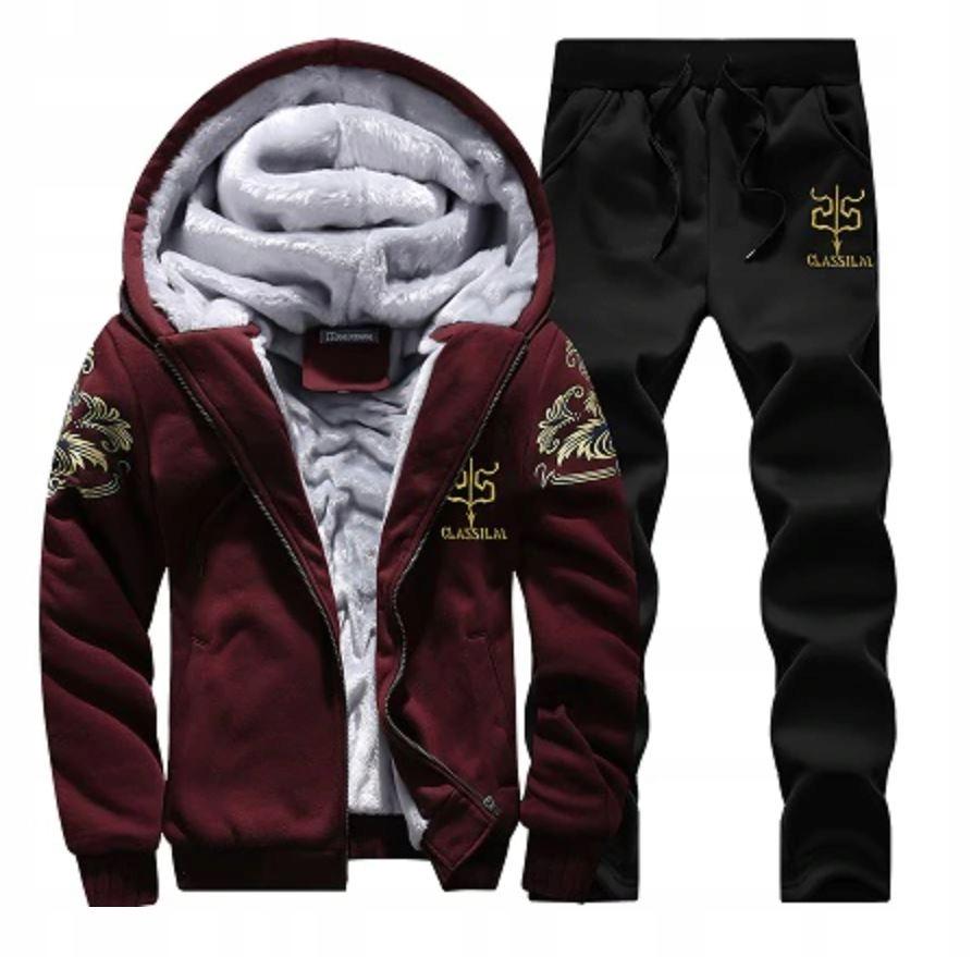 Komplet Męskie Dresy Bluza na Zamek + Spodnie 4XL
