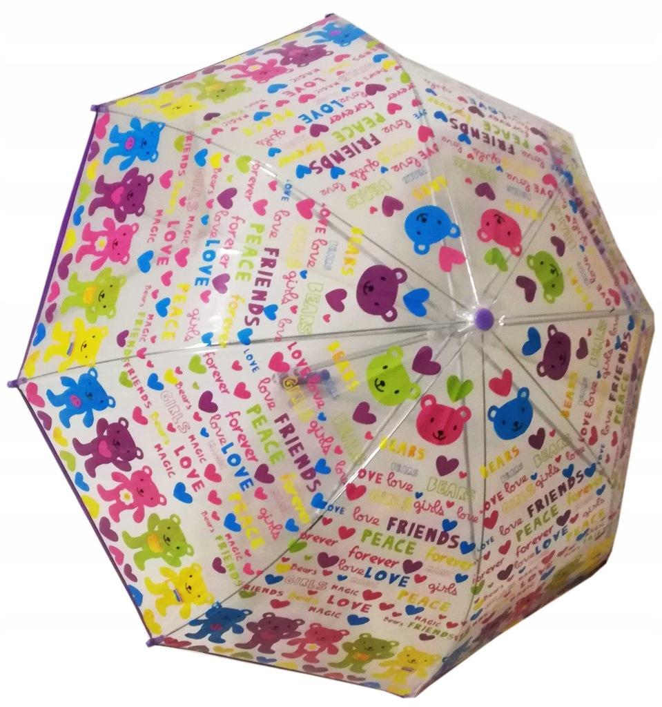 Parasol dla dziecka Parasolka Przeźroczysta MISIE