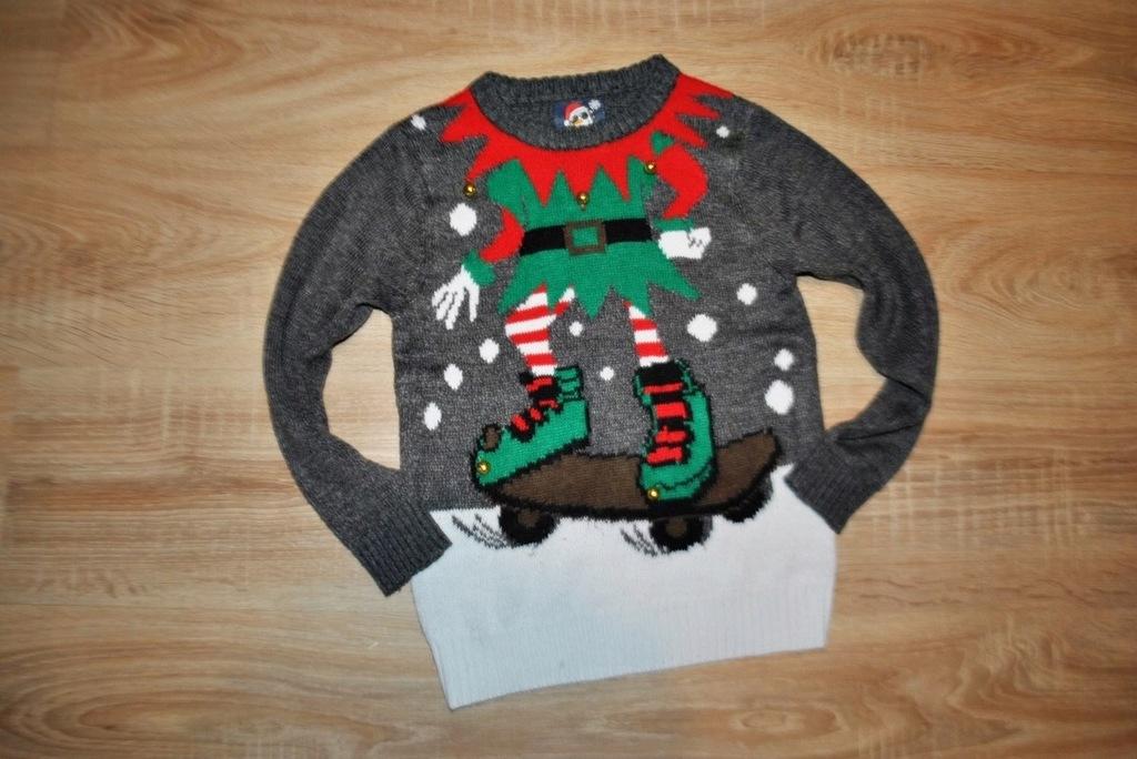 F&F świąteczny sweterek ELF ŚWIĘTA 122 BDB