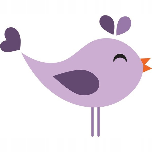 Fioletowy ptak 30x30cm naklejka dziecko ścienna