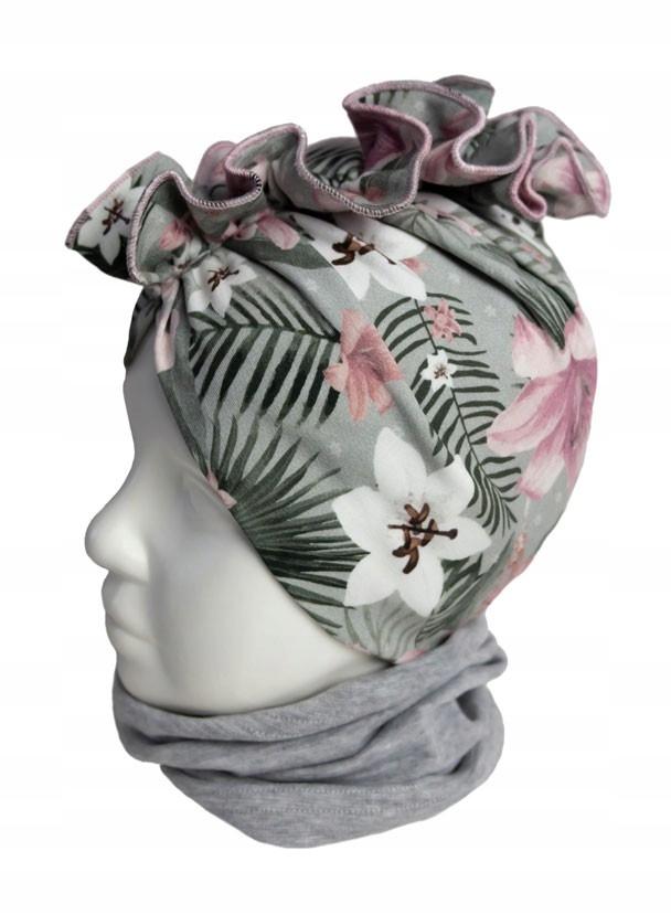 Czapka dziewczęca turban bawełna 44-46 cm