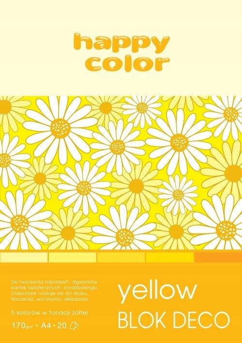 Blok Deco Yellow A4, 5 kolorów tonacja żółta 5 szt
