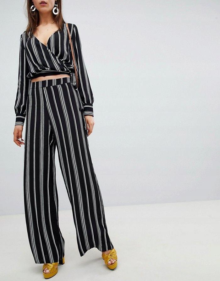 NEW LOOK Czarne spodnie w paski (46)