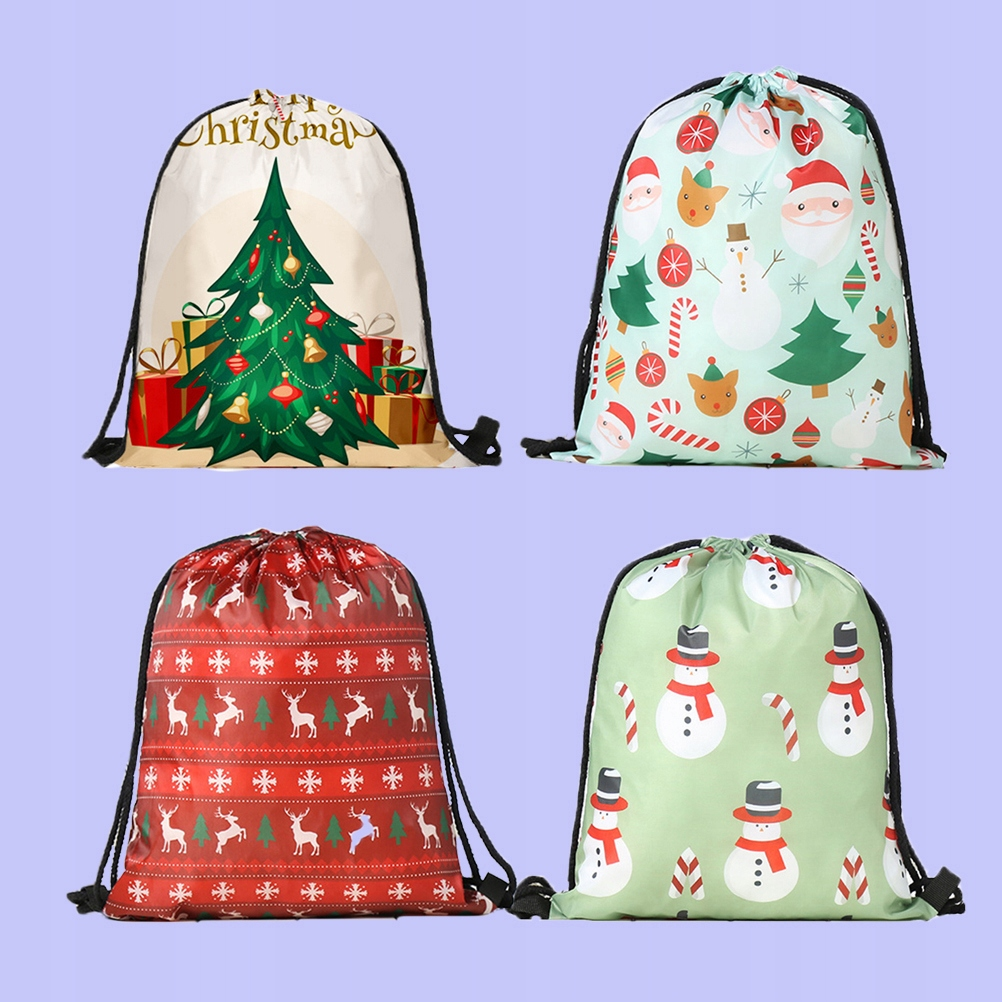 4pcs Christmas Gift Bags Drawstring Backpacks Prin