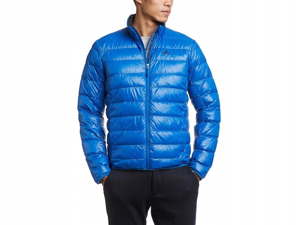 zimowa kurtka męska Adidas niebieska PUCHOWA r. S