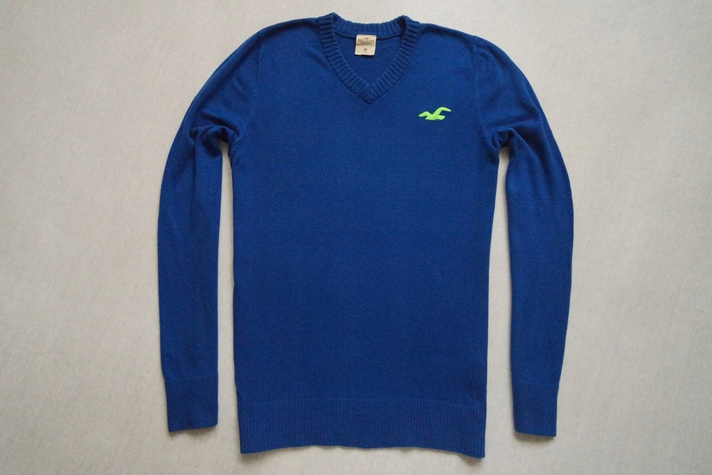 HOLLISTER sweter sweterek niebieski logowany____S