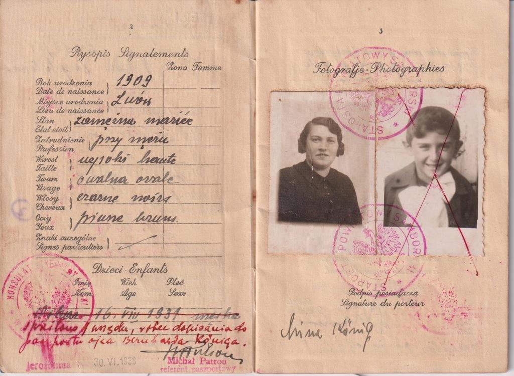 PASZPORT JUDAIKA LWÓW SAMBOR 1936