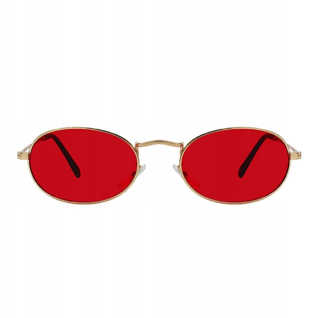 okulary lenonki czerwone vintage retro lata 90 UV