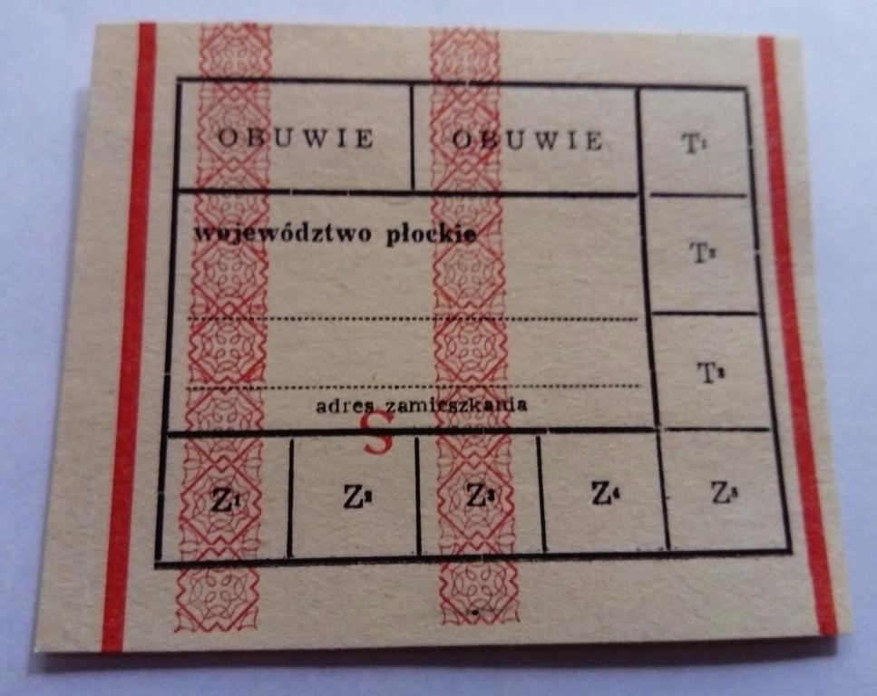 KARTKA NA OBUWIE woj. płockie II RARYTAS!!!
