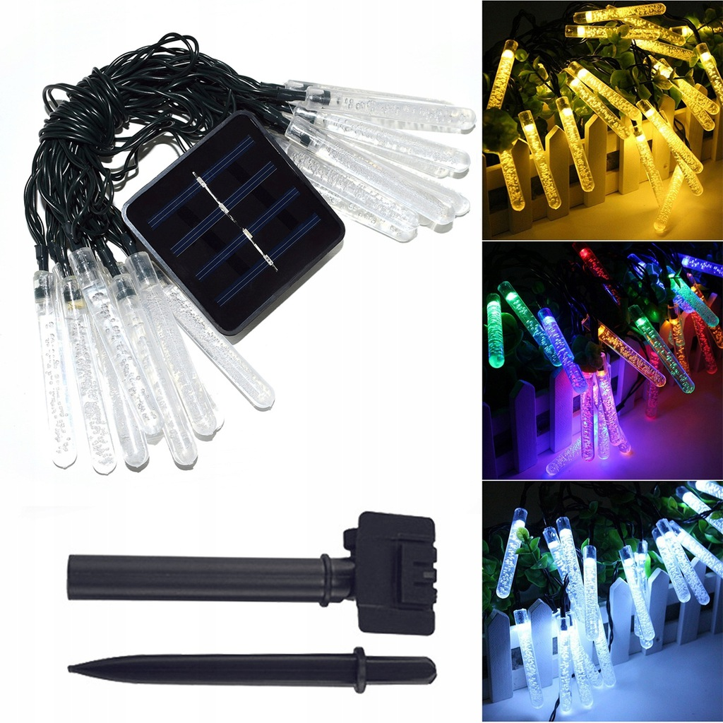5 Meters Solar String Fairy Lights 20 LEDs Ice Bub