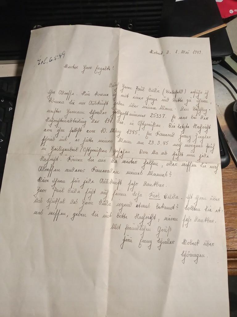 List CCCP Jeńcy Wniosek Wehrmacht Poczta Polowa