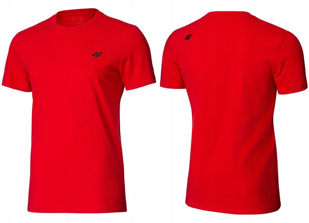 4F T-shirt KOSZULKA Męska TSM003 Bawełna Czerwona