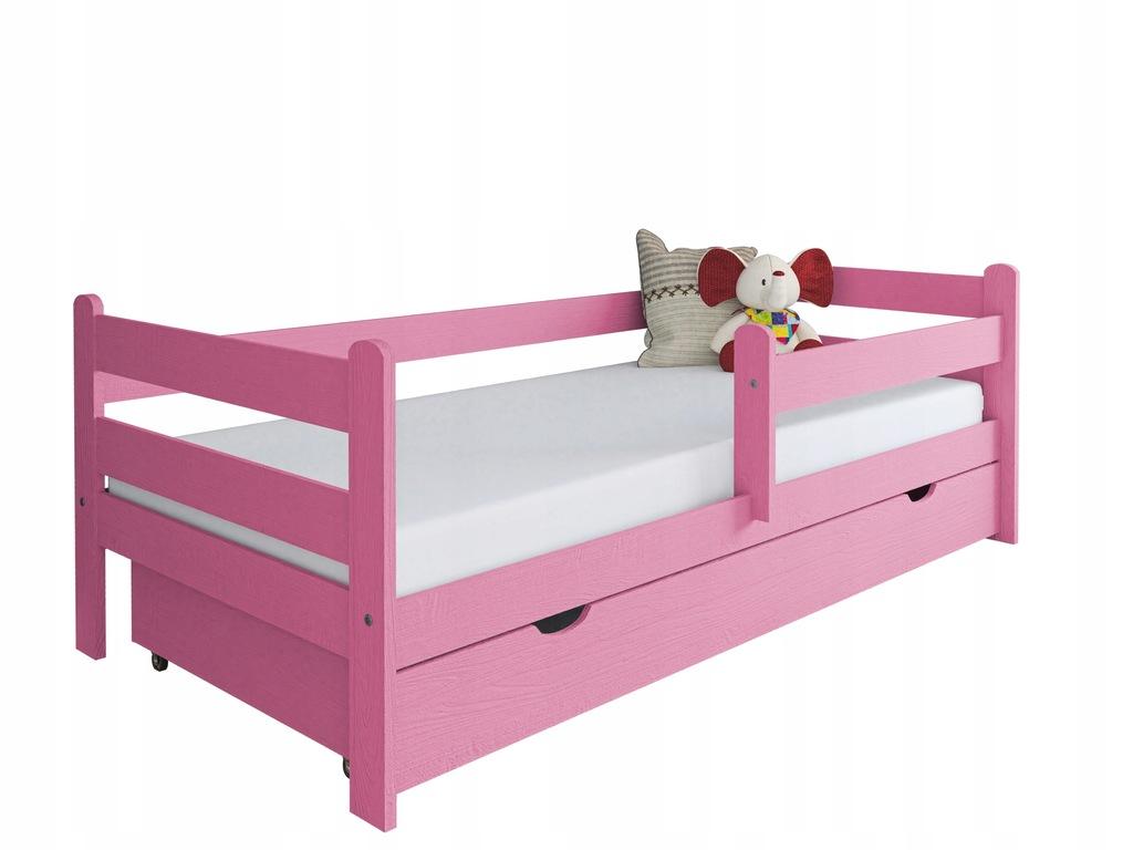 Łóżko dla dziecka z drewna Kevin 180x80 różowe