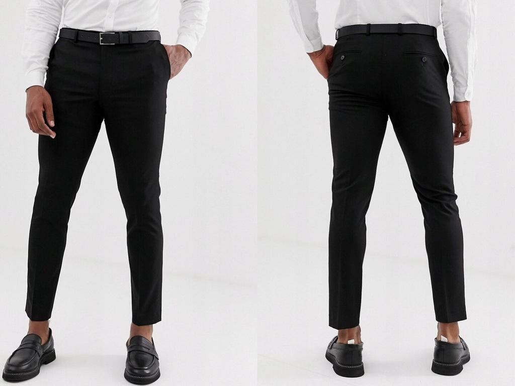 Burton Menswear Czarne spodnie garniturowe W30 L30