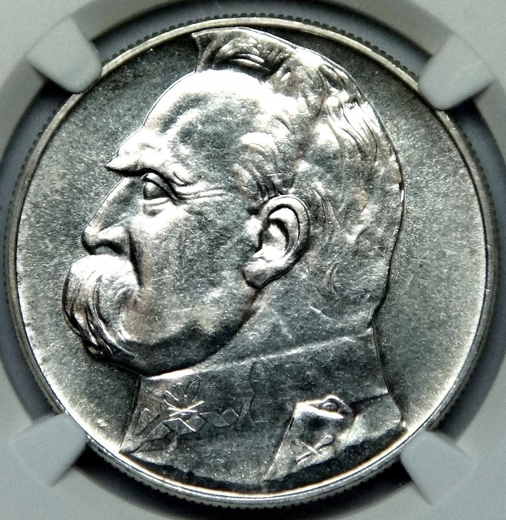 kn 10 złotych 1937 Piłsudski - NGC MS60
