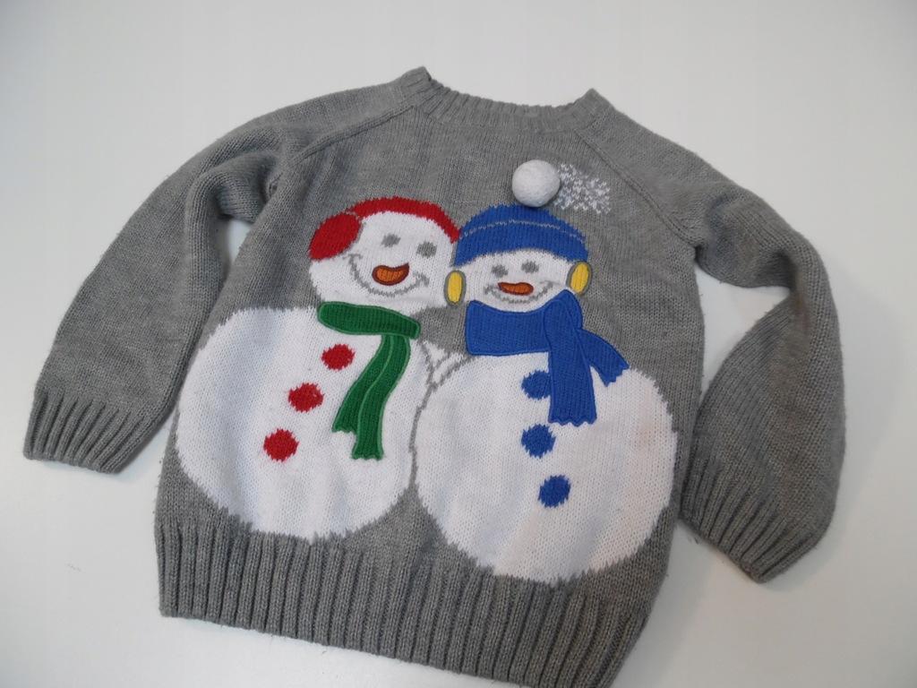 Sweter z bałwanami rozm.92/98