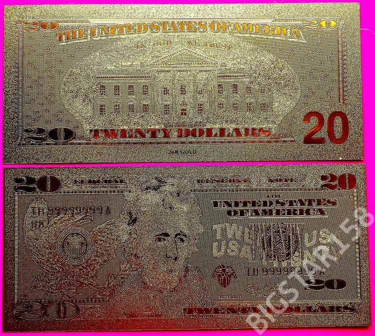 BANKNOT 20 $ USA W CZYSTYM ZŁOCIE !!! 24 KARATY!!!
