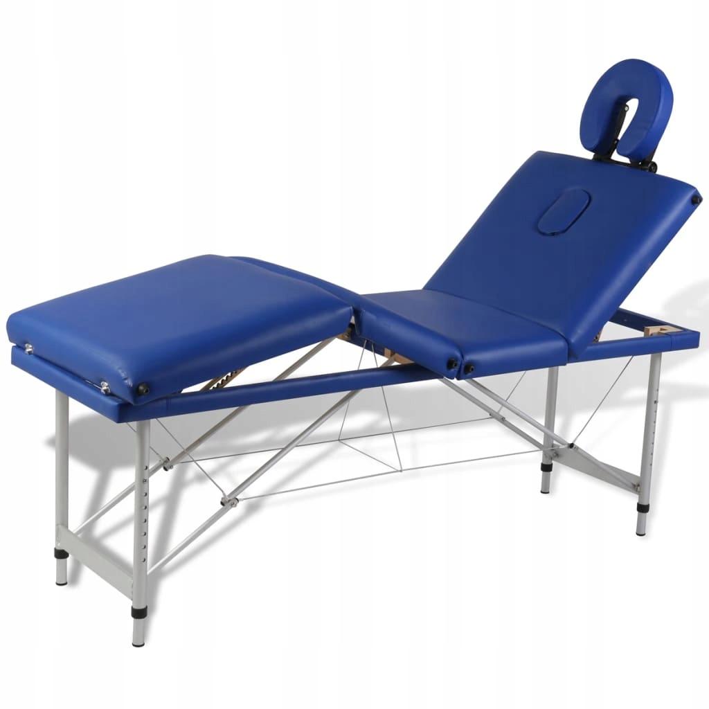 Niebieski składany stół do masażu 4 strefy z alumi