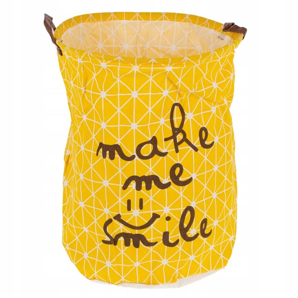 Kosz brudnik na pranie materiałowy 50x40 żółty