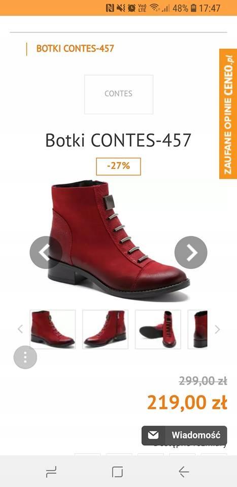 Botki Contes bordowe 37