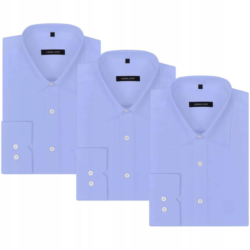 Męskie koszule błękitne rozmiar S 3 szt.