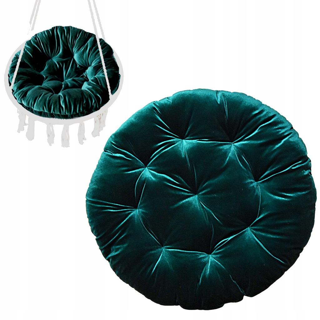 Poduszka welurowa butelkowa zieleń na fotel