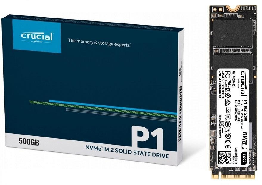 Dysk SSD Crucial P1 500GB M.2 PCIe NVMe 2280 (1900