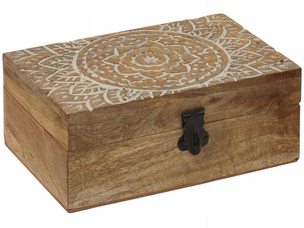 OUTLET Drewniana szkatułka na drobiazgi