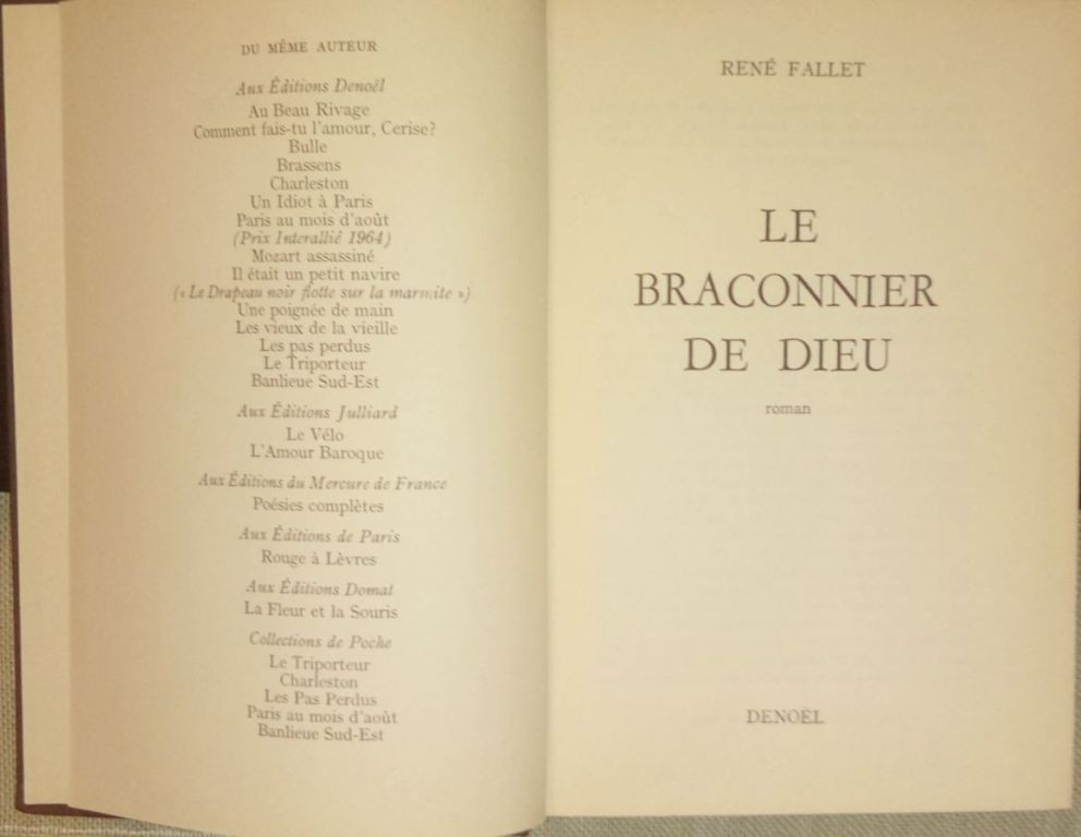 RENE FALLET Le braconnier de Dieu j.francuski
