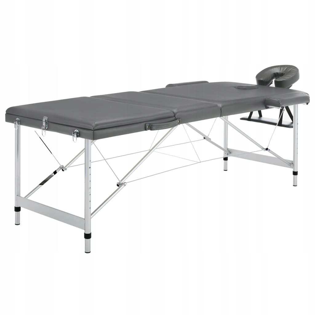 Stół do masażu, 3 strefy, rama z aluminium, antrac