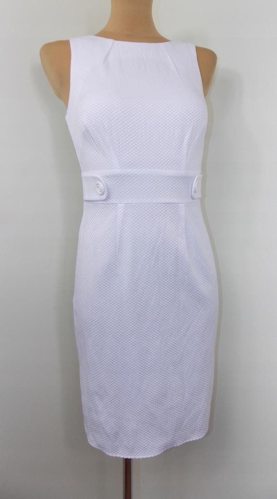 sukienka F+F elegancka ołówkowa biała WESELE 34